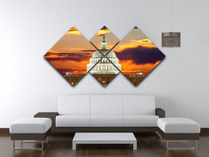 United States Capitol Building 4 Square Multi Panel Canvas  - Canvas Art Rocks - 3