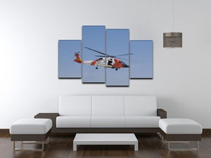 United States Coast Guard helicopter 4 Split Panel Canvas  - Canvas Art Rocks - 3