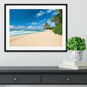 Untouched sandy beach with palms trees Framed Print - Canvas Art Rocks - 1