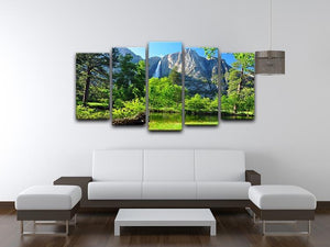 Upper Yosemite Falls 5 Split Panel Canvas  - Canvas Art Rocks - 3