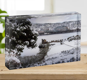 Urquhart Castle in the snow Acrylic Block - Canvas Art Rocks - 2