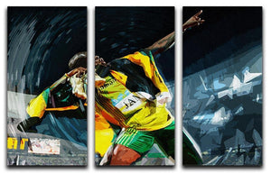 Usian Bolt Iconic Pose 3 Split Panel Canvas Print - Canvas Art Rocks - 1
