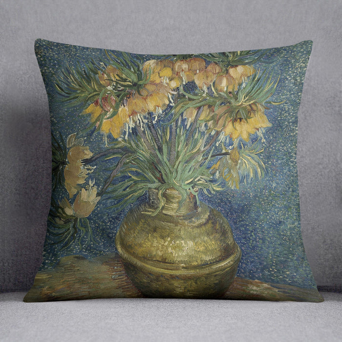Van Gogh Fritillaries in a Copper Vase Throw Pillow