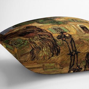 Van Gogh Pine Trees with Figure in the Garden of Saint-Paul Hospital Throw Pillow