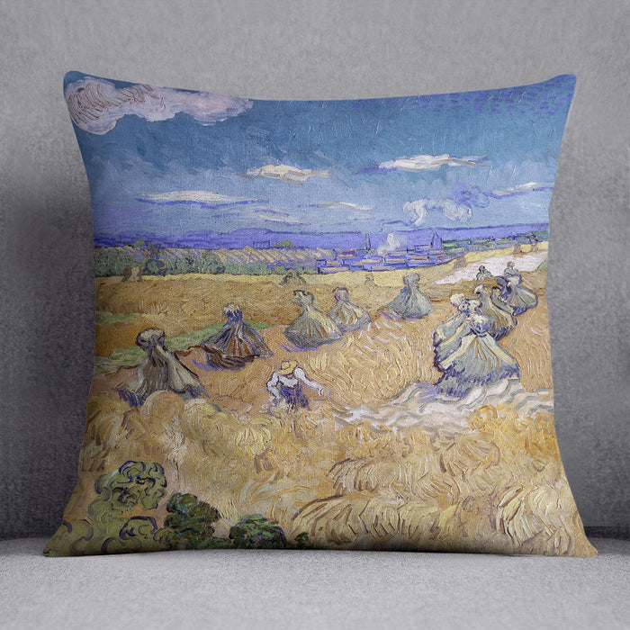 Van Gogh Wheat Fields with Reaper at Auvers Throw Pillow