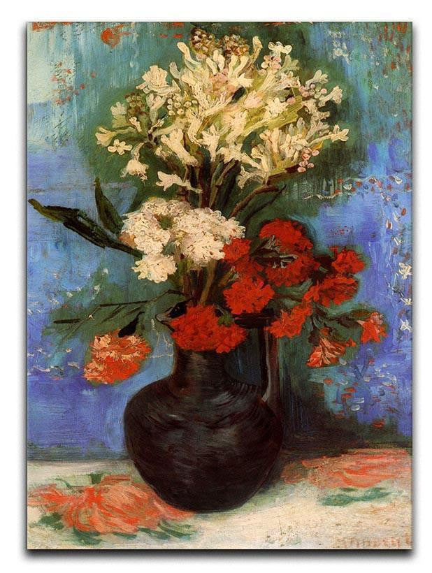 Vase with Carnations and Other Flowers by Van Gogh Canvas Print or Poster