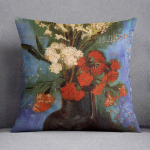 Vase with Carnations and Other Flowers by Van Gogh Throw Pillow