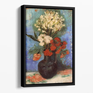 Vase with Carnations and Other Flowers by Van Gogh Floating Framed Canvas