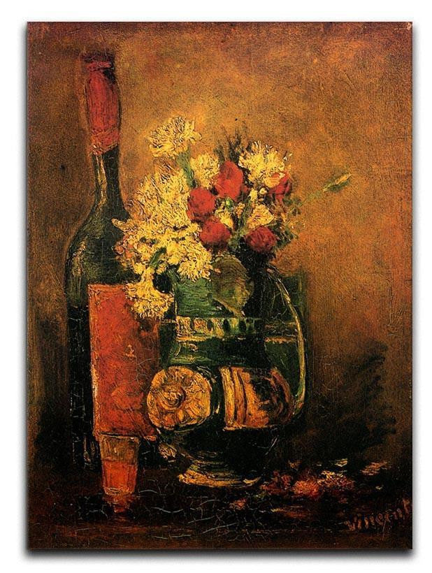 Vase with Carnations and Roses and a Bottle by Van Gogh Canvas Print or Poster