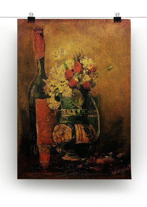 Vase with Carnations and Roses and a Bottle by Van Gogh Canvas Print & Poster - Canvas Art Rocks - 2