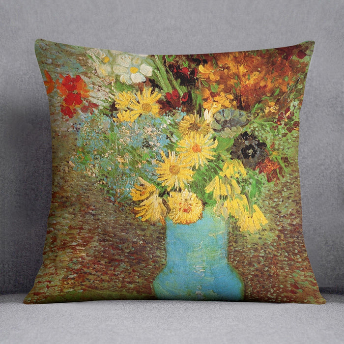 Vase with Daisies and Anemones by Van Gogh Throw Pillow