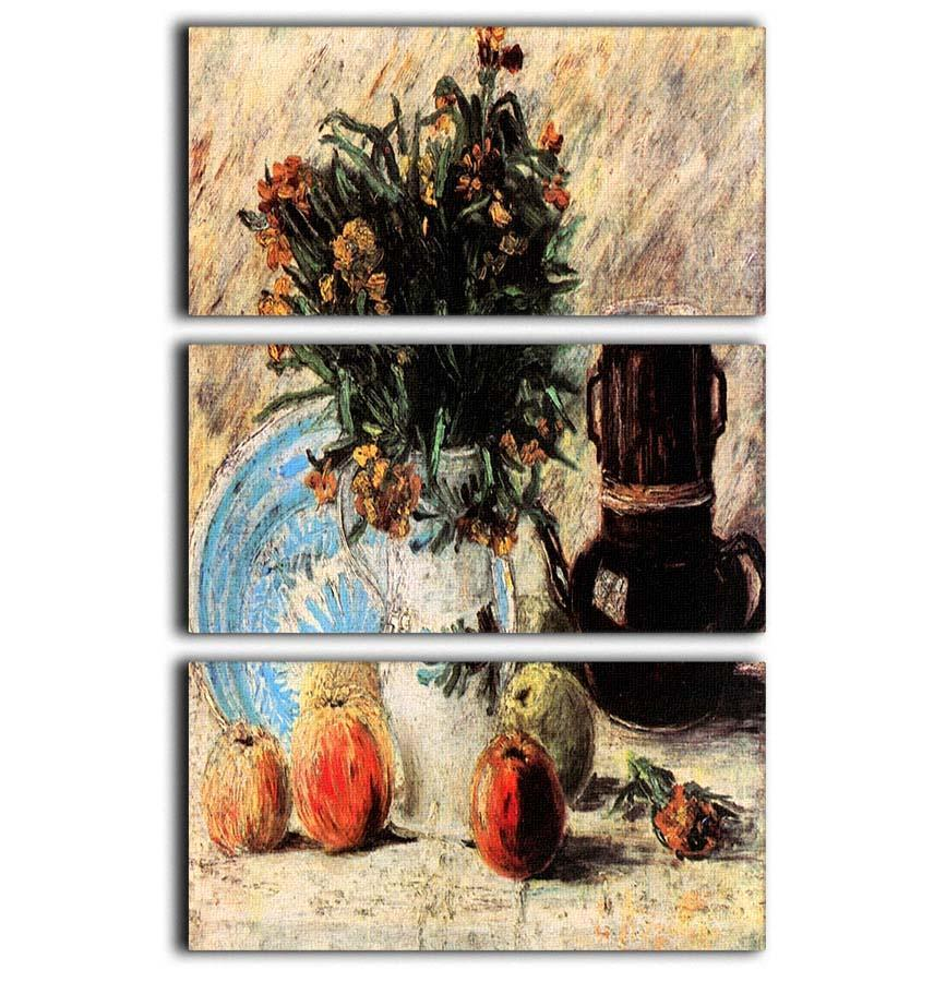Vase With Flowers Coffeepot And Fruit By Van Gogh 3 Split Panel