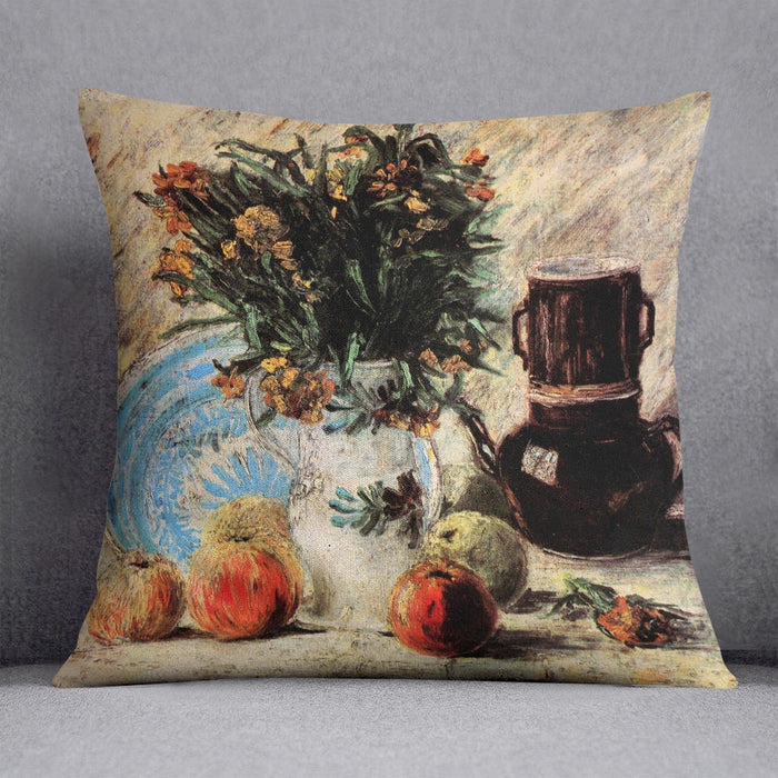 Vase with Flowers Coffeepot and Fruit by Van Gogh Throw Pillow