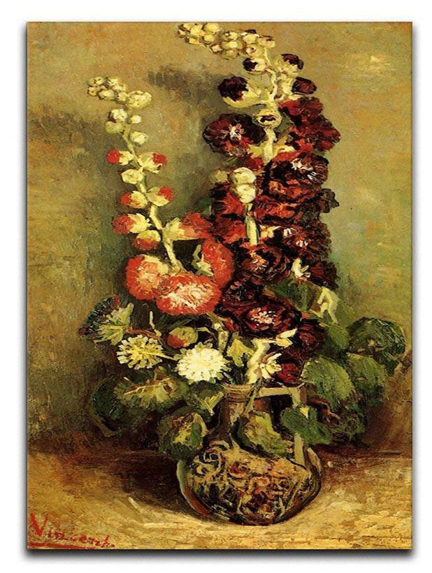 Vase with Hollyhocks by Van Gogh Canvas Print or Poster