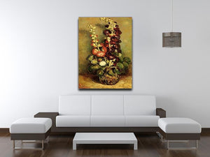 Vase with Hollyhocks by Van Gogh Canvas Print & Poster - Canvas Art Rocks - 4