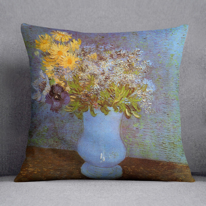 Vase with Lilacs Daisies and Anemones by Van Gogh Throw Pillow
