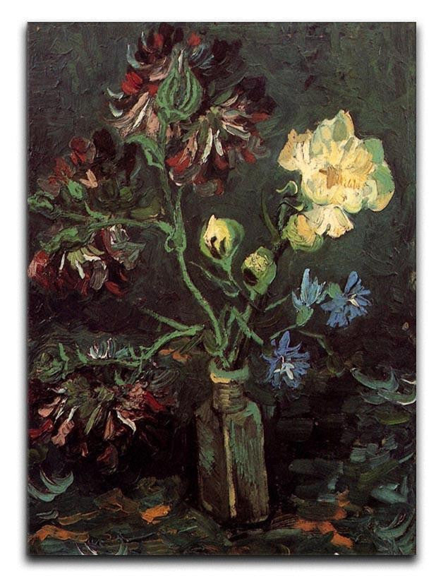 Vase with Myosotis and Peonies by Van Gogh Canvas Print or Poster
