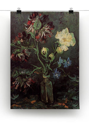 Vase with Myosotis and Peonies by Van Gogh Canvas Print & Poster - Canvas Art Rocks - 2