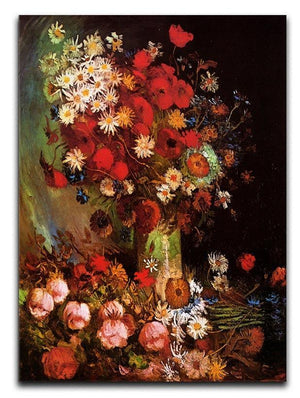 Vase with Poppies Cornflowers Peonies and Chrysanthemums by Van Gogh Canvas Print & Poster  - Canvas Art Rocks - 1