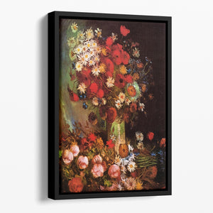 Vase with Poppies Cornflowers Peonies and Chrysanthemums by Van Gogh Floating Framed Canvas