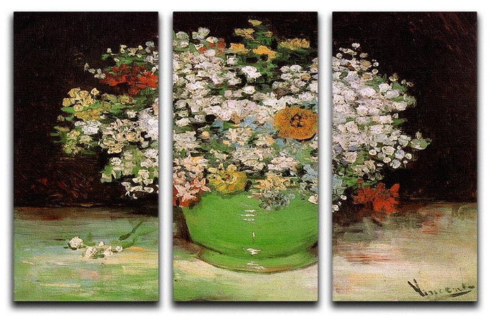 Vase with Zinnias and Other Flowers by Van Gogh 3 Split Panel Canvas Print