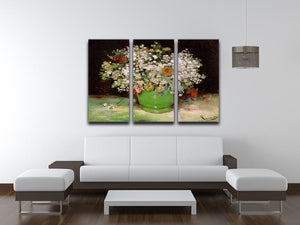 Vase with Zinnias and Other Flowers by Van Gogh 3 Split Panel Canvas Print - Canvas Art Rocks - 4