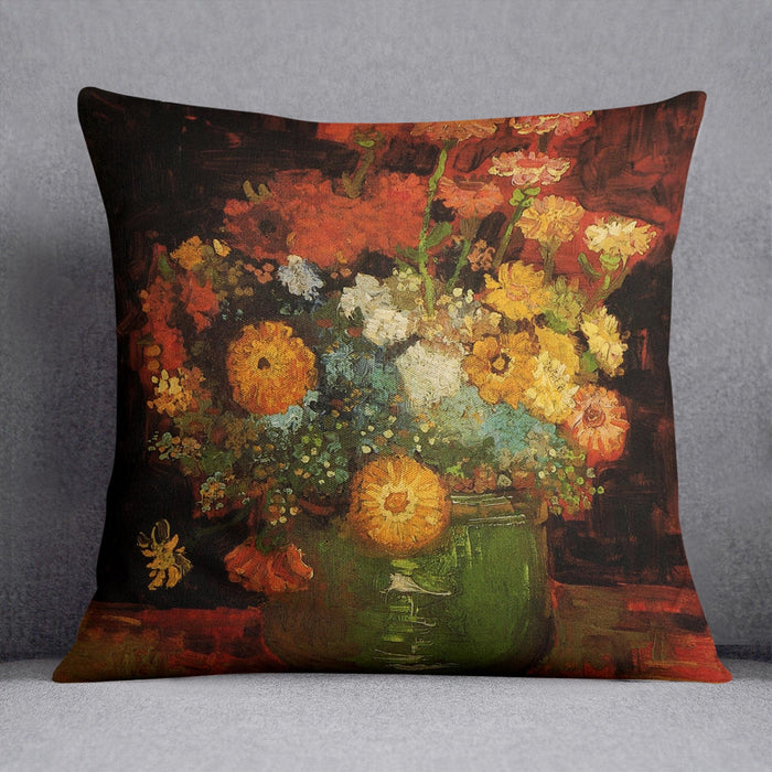 Vase with Zinnias by Van Gogh Throw Pillow