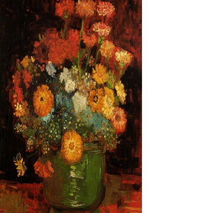 Vase with Zinnias by Van Gogh Floating Framed Canvas