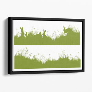 Vector silhouette rabbits in grass background Floating Framed Canvas - Canvas Art Rocks - 1