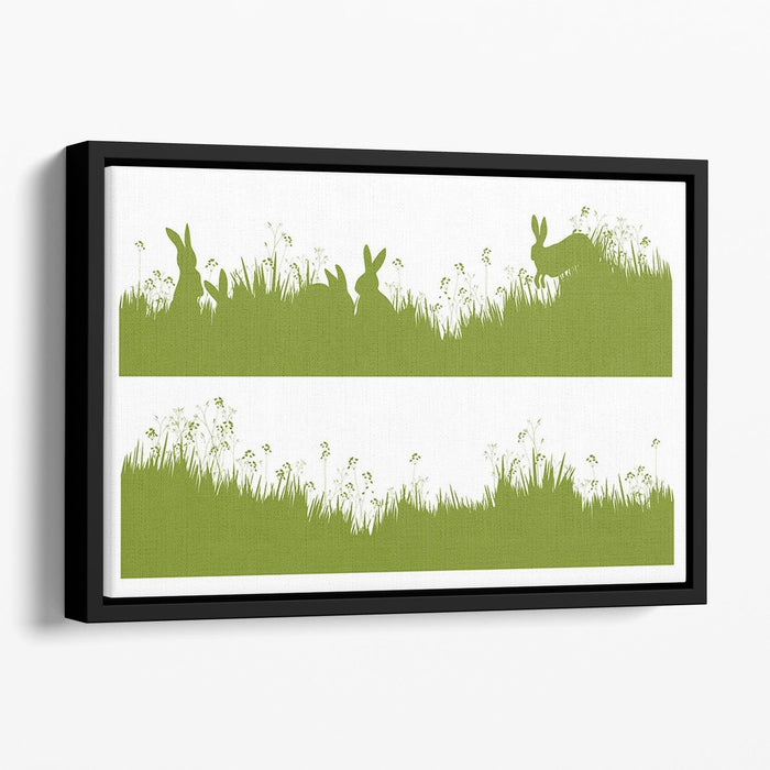Vector silhouette rabbits in grass background Floating Framed Canvas