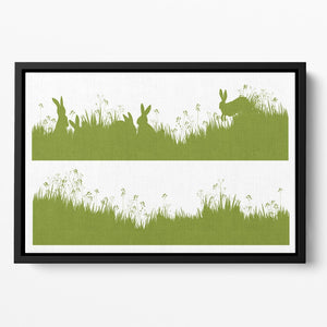 Vector silhouette rabbits in grass background Floating Framed Canvas - Canvas Art Rocks - 2