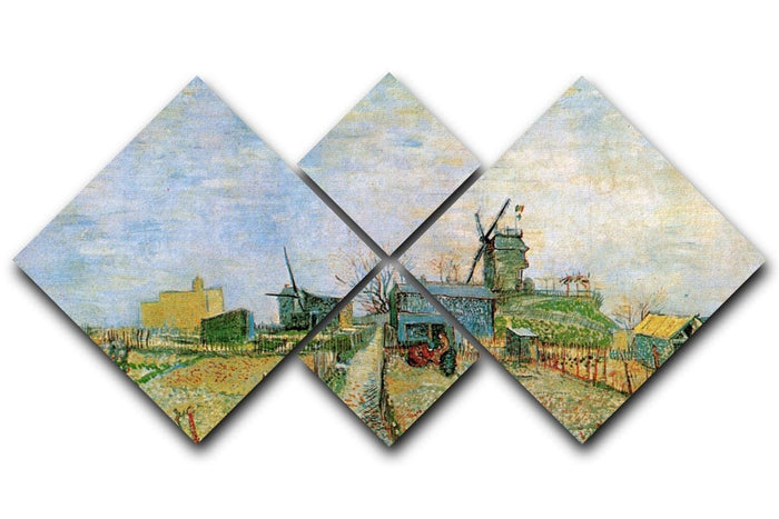 Vegetable Garden in Montmartre by Van Gogh 4 Square Multi Panel Canvas