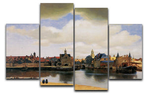 View of Delft by Vermeer 4 Split Panel Canvas - Canvas Art Rocks - 1