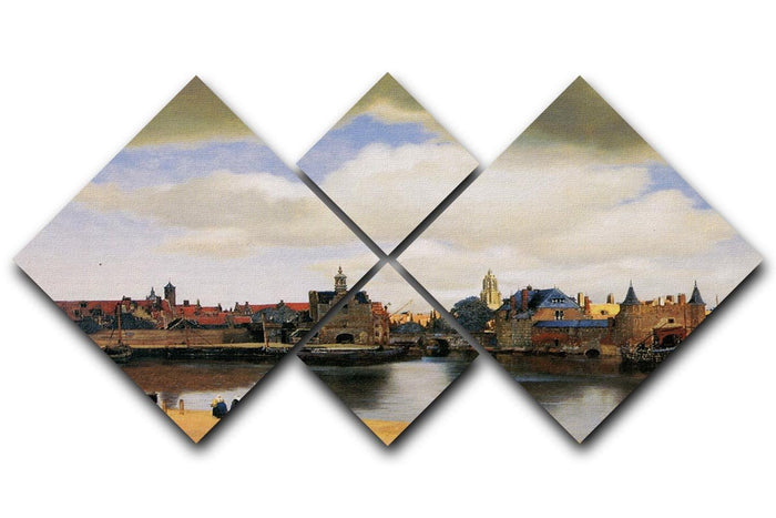 View of Delft by Vermeer 4 Square Multi Panel Canvas