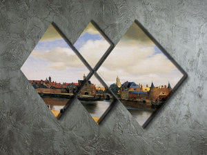 View of Delft by Vermeer 4 Square Multi Panel Canvas - Canvas Art Rocks - 2