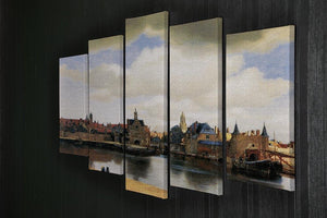 View of Delft by Vermeer 5 Split Panel Canvas - Canvas Art Rocks - 2
