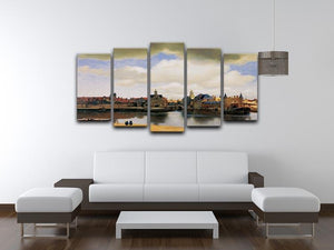 View of Delft by Vermeer 5 Split Panel Canvas - Canvas Art Rocks - 3