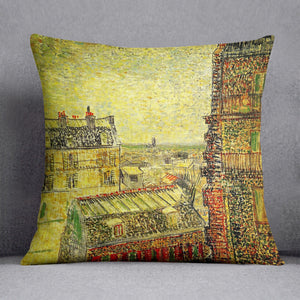 View of Paris from Vincent s Room in the Rue Lepic by Van Gogh Throw Pillow