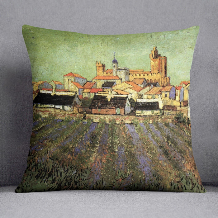 View of Saintes-Maries by Van Gogh Throw Pillow