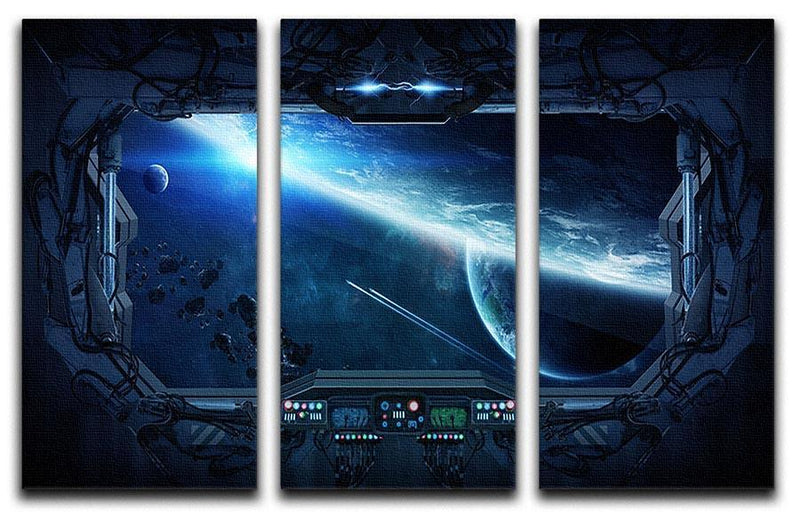 View of outer space from the window of a space station 3 Split Panel Canvas Print - Canvas Art Rocks - 1