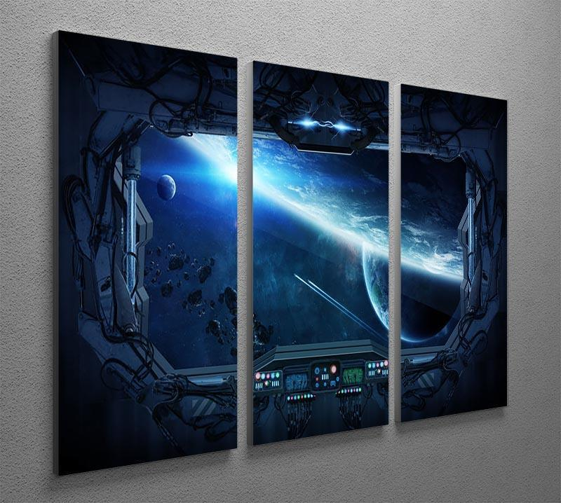 View of outer space from the window of a space station 3 Split Panel Canvas Print - Canvas Art Rocks - 2