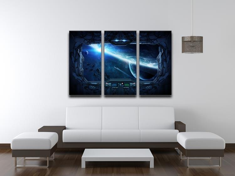 View of outer space from the window of a space station 3 Split Panel Canvas Print - Canvas Art Rocks - 3
