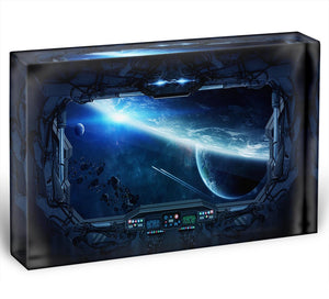 View of outer space from the window of a space station Acrylic Block - Canvas Art Rocks - 1