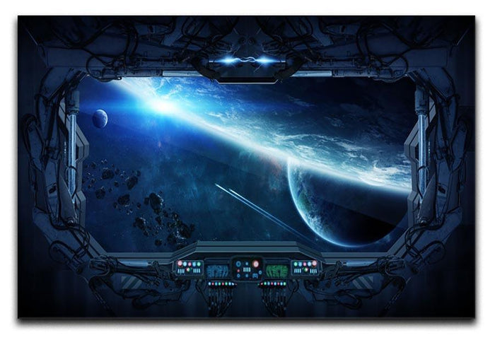 View of outer space from the window of a space station Canvas Print or Poster