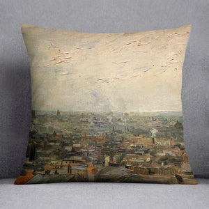 View of paris from Montmarte by Van Gogh Throw Pillow