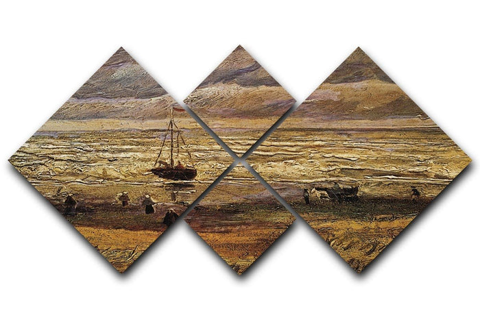 View of the Sea at Scheveningen by Van Gogh 4 Square Multi Panel Canvas