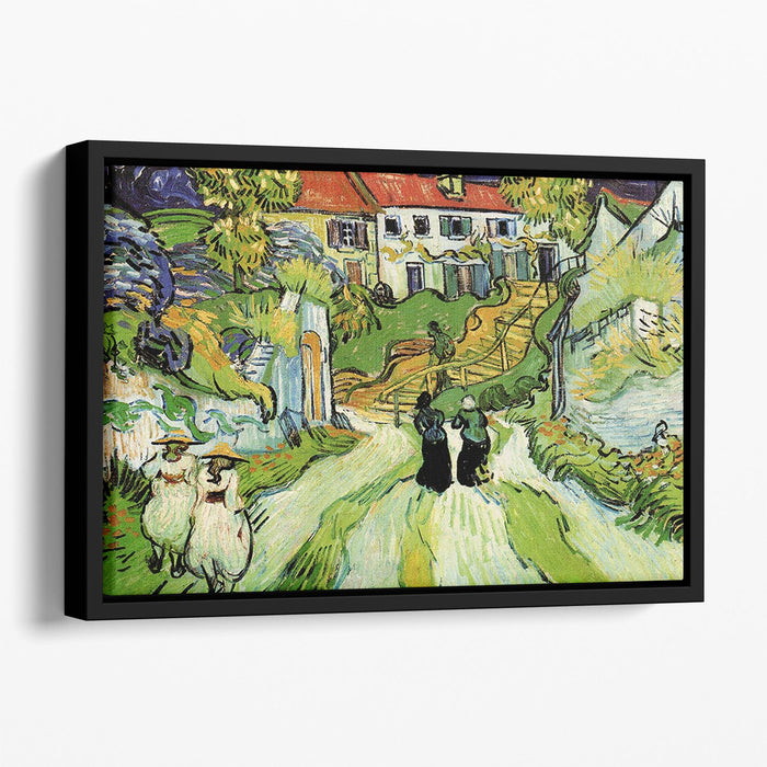 Village Street and Steps in Auvers with Figures by Van Gogh Floating Framed Canvas