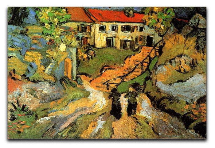 Village Street and Steps in Auvers with Two Figures by Van Gogh Canvas Print or Poster