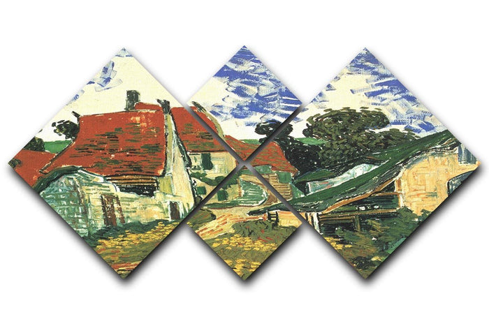 Villages Street in Auvers by Van Gogh 4 Square Multi Panel Canvas