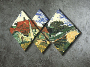 Villages Street in Auvers by Van Gogh 4 Square Multi Panel Canvas - Canvas Art Rocks - 2